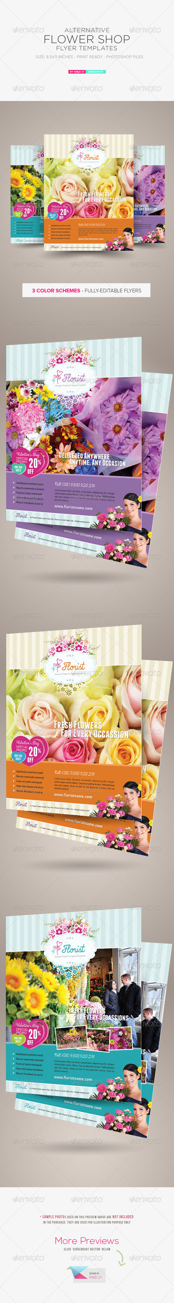 GraphicRiver Alternative Flower Shop Flyer Templates 6615019