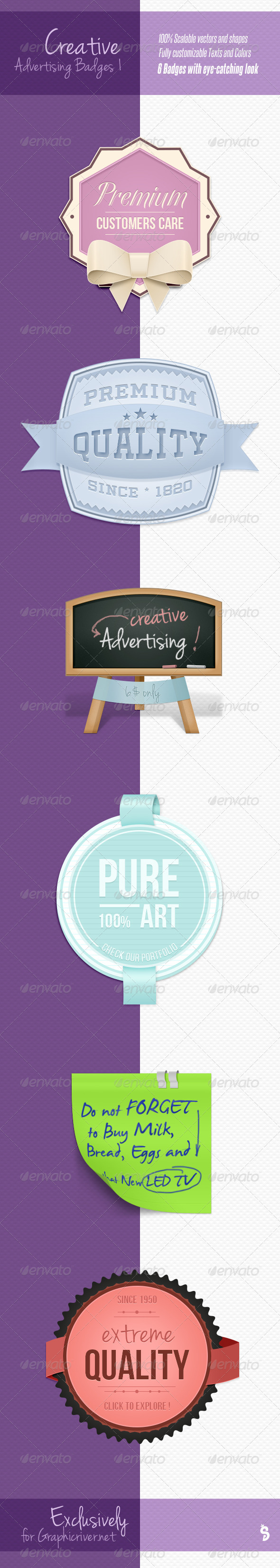 Creative Advertising Badges 1 - Badges & Stickers Web Elements