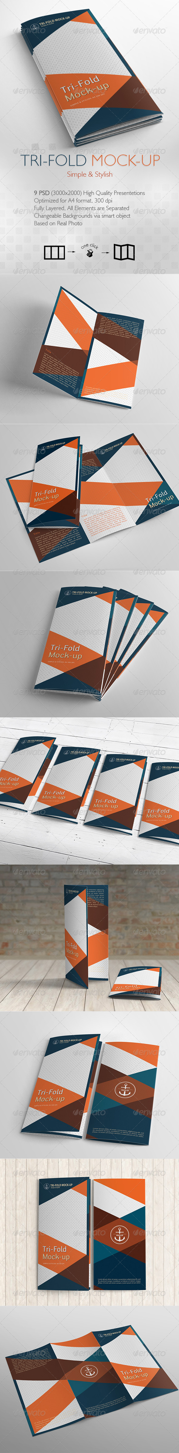 GraphicRiver Tri-Fold Brochure Mock-up 9 Different Images 6615077