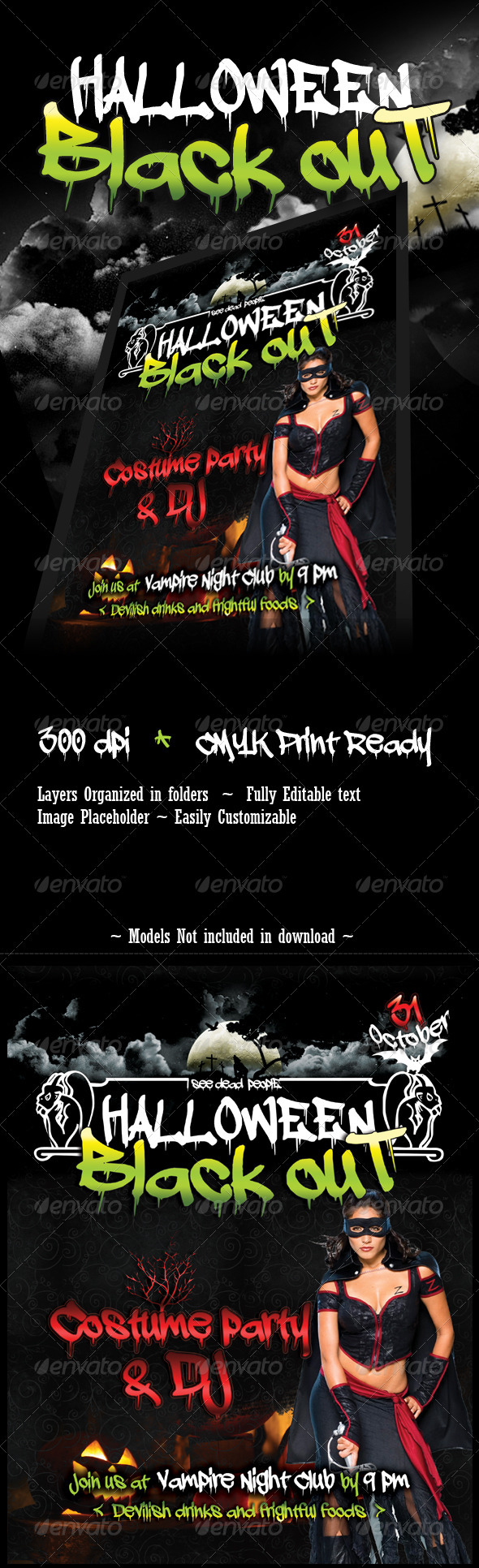 Halloween Blackout Flyer Template
