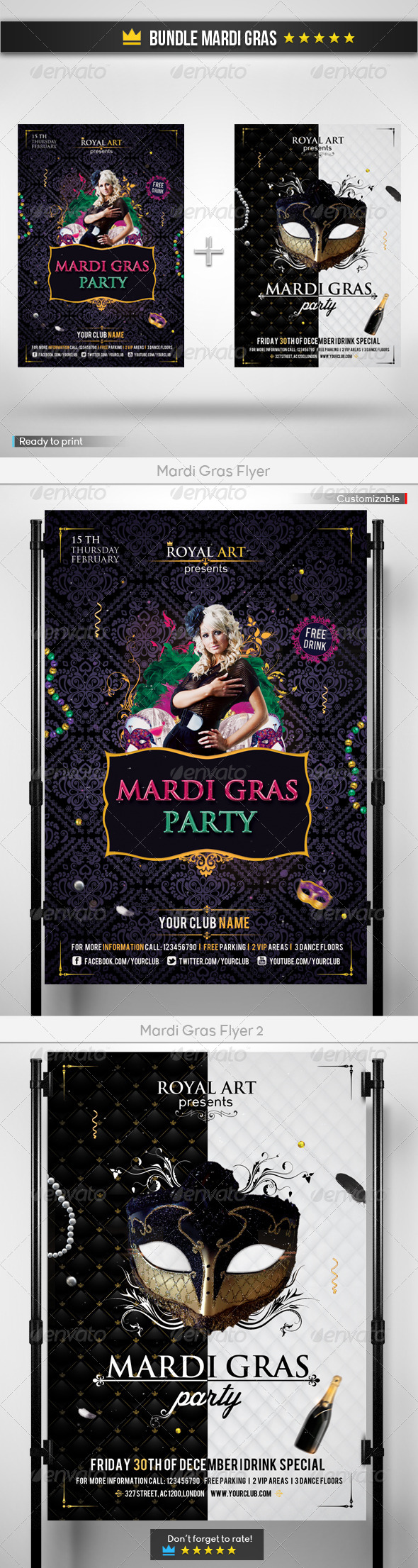 GraphicRiver Bundle Mardi Gras 6611466
