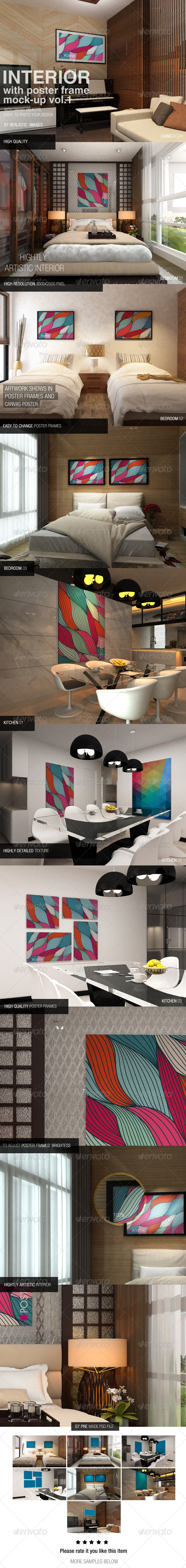 GraphicRiver Interior With Poster Frames Mockup Vol.1 6617101
