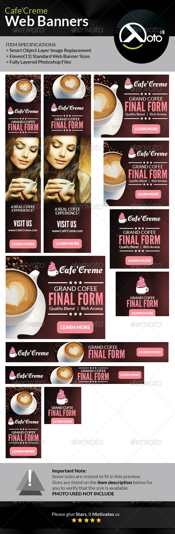 Cafe Creme Coffee Store Web Banners - Banners & Ads Web Elements