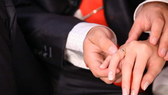 Bride and Groom Hands Close Up