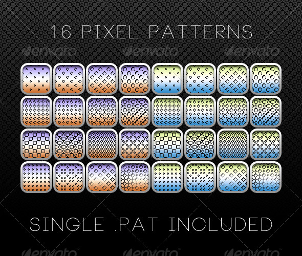 GraphicRiver 16 Pixel Patterns 6617736