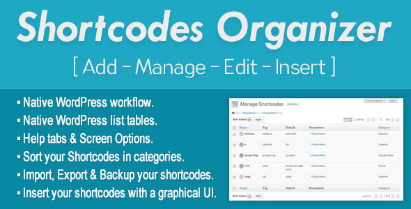 CodeCanyon Shortcodes Organizer 6617744