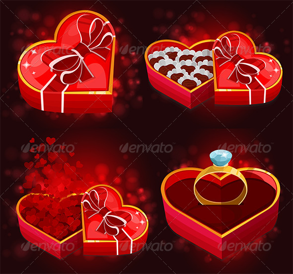 GraphicRiver Red Heart Boxes 6617871