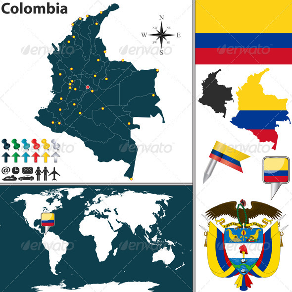 GraphicRiver Map of Colombia 6617873