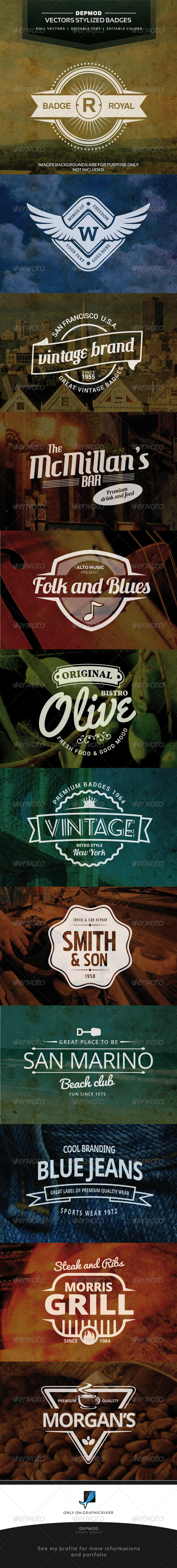 12 Retro Vintage Badges - Badges & Stickers Web Elements