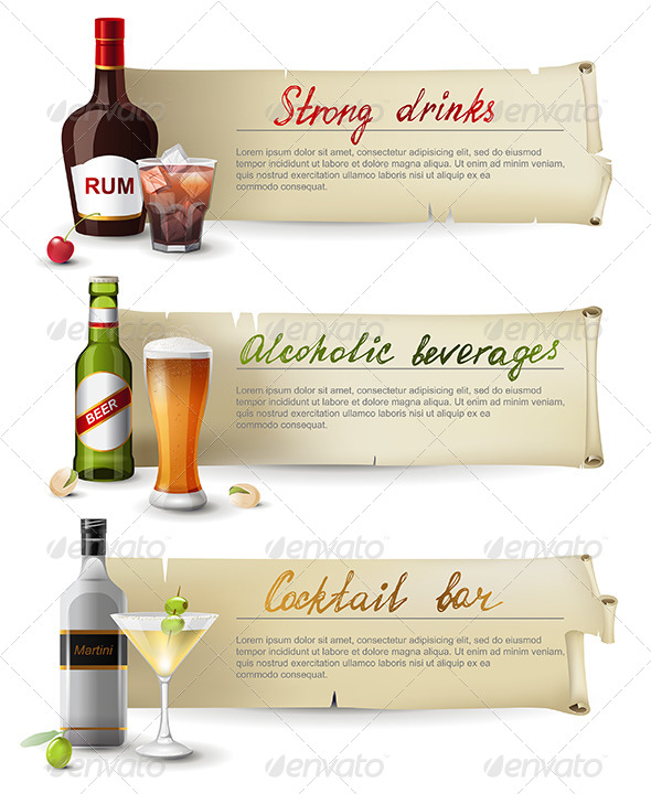 GraphicRiver Banners with Alcoholic Drinks 6618144