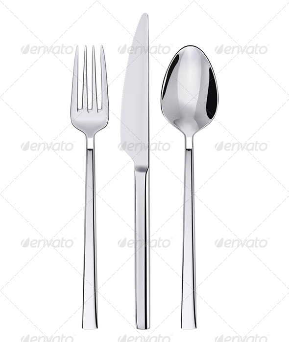 GraphicRiver Fork Spoon and Knife Isolated on White 6618173