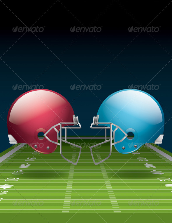 GraphicRiver American Football Field and Helmets 6618294