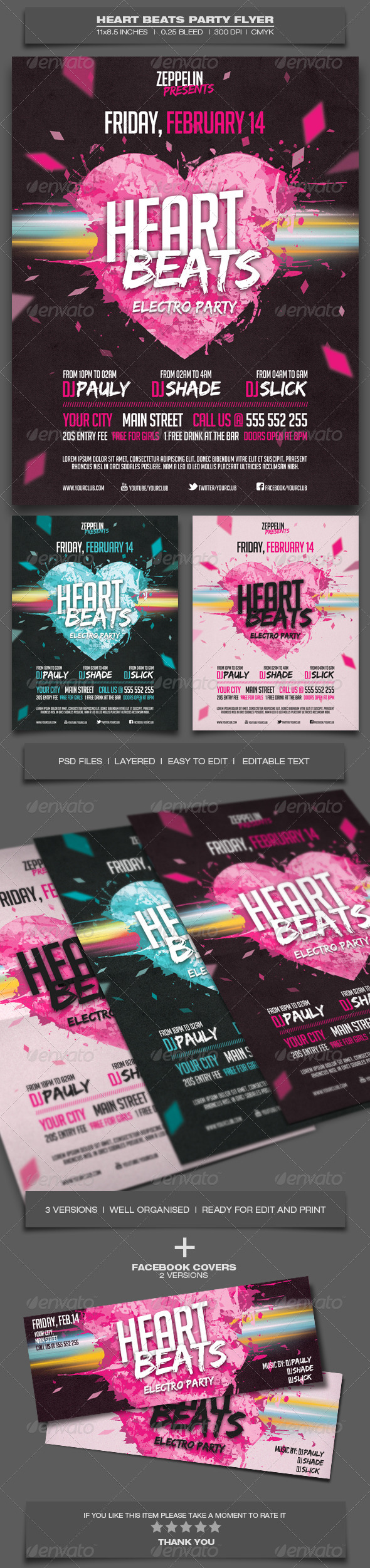 GraphicRiver Heart Beats Party Event Flyer Template 6618310