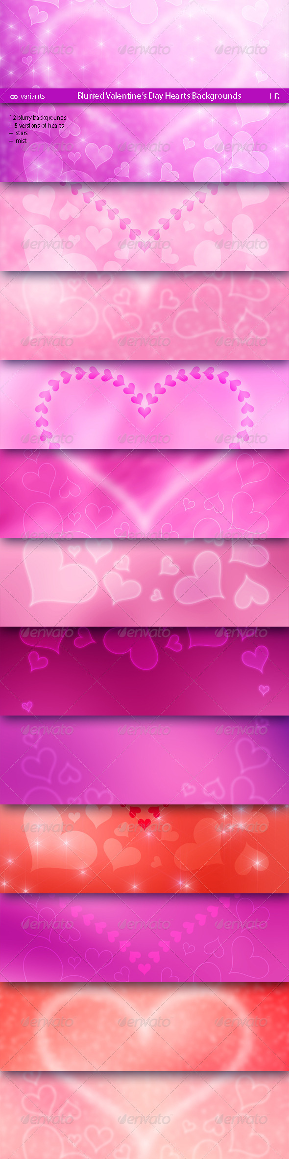 GraphicRiver Blurred Valentine's Day Hearts Backgrounds 6618578