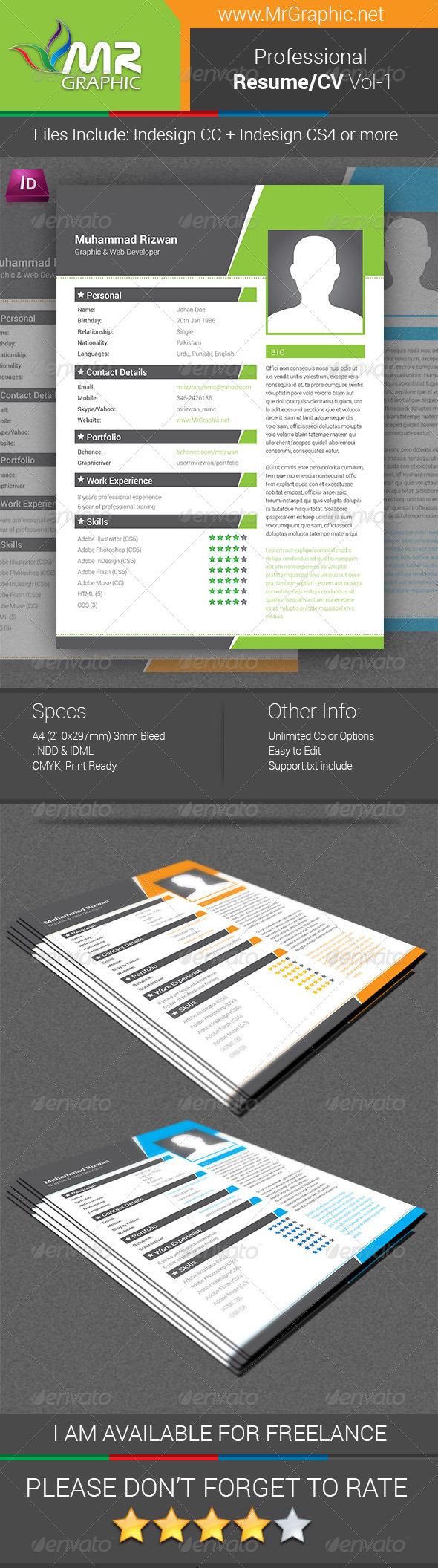 GraphicRiver Professional Resume CV Vol-01 6619090