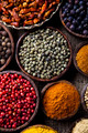 Assortment of spices in wooden bowl background  - PhotoDune Item for Sale