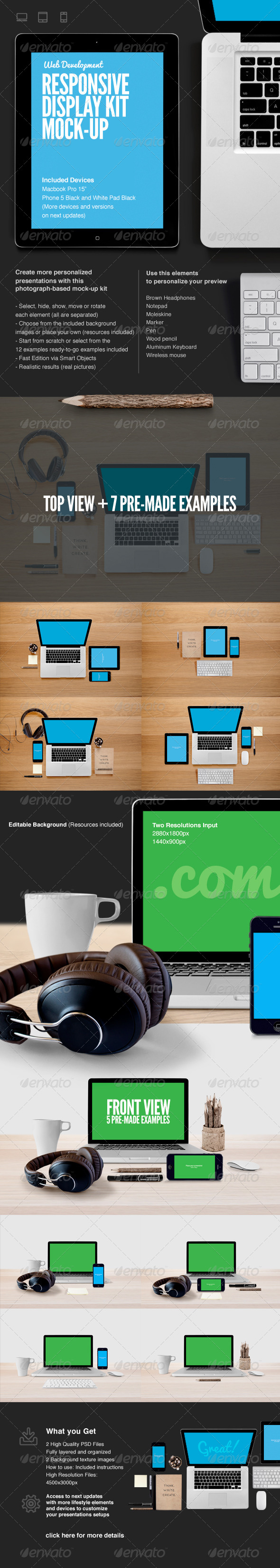 Responsive Web Display Kit Mock-Up - Displays Product Mock-Ups