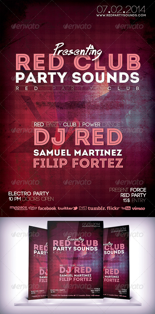 GraphicRiver Red Sound Party Flyer 6619553