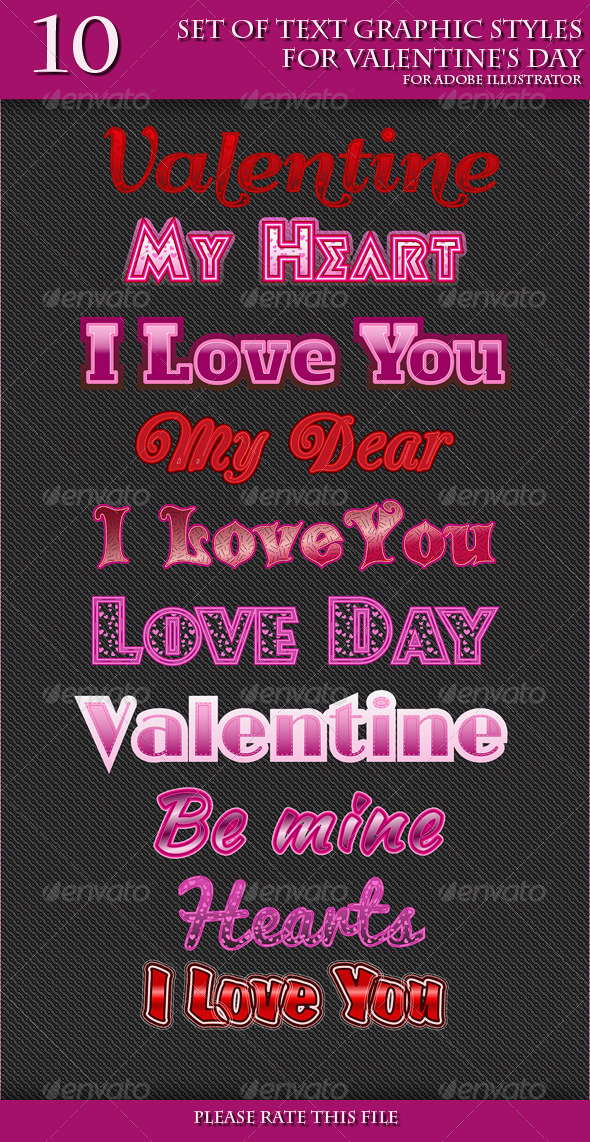 GraphicRiver Set of Text Graphic Styles for Valentine s Day 6619871