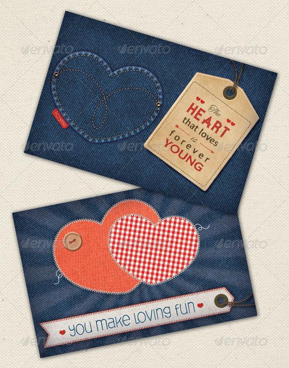 GraphicRiver Valentine s Cards on Denim 6619972