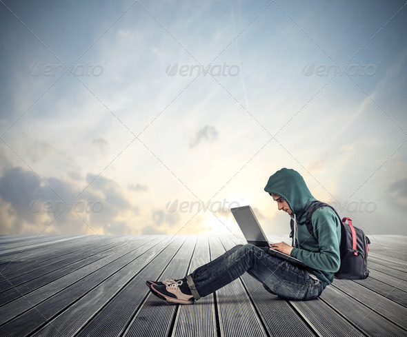 guy with computer - Stock Photo - Images