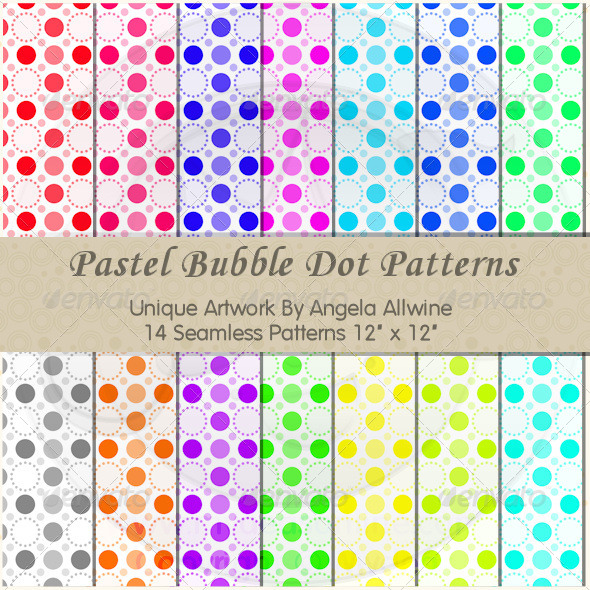 GraphicRiver Pastel Bubble Dots Pattern Set 6621814