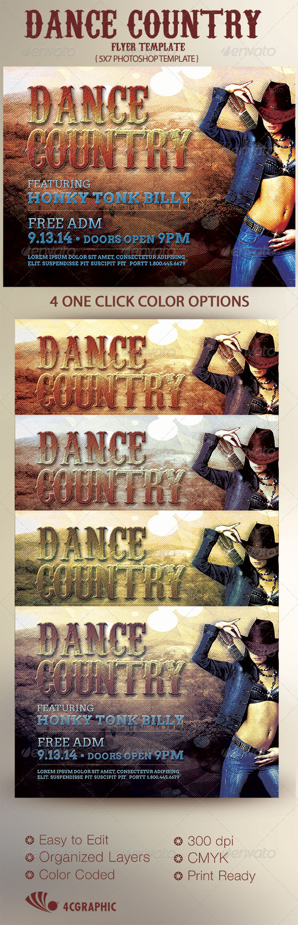 Country Dance Flyer Template - Events Flyers