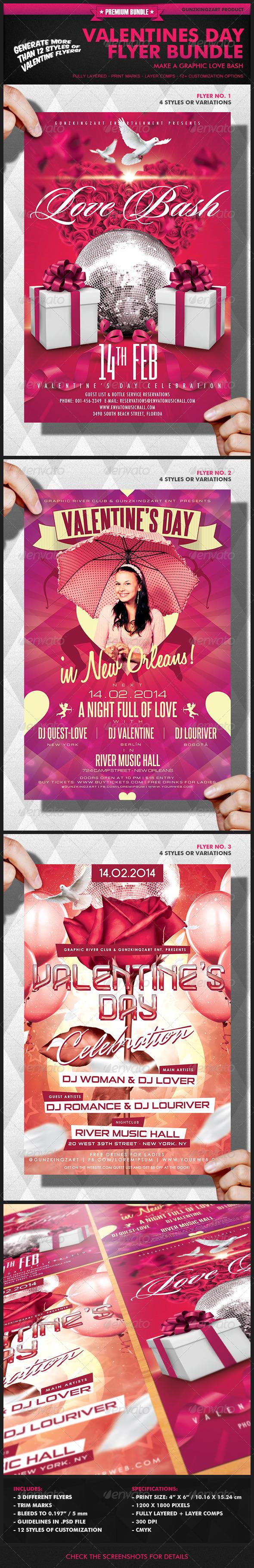 GraphicRiver Valentines Day Flyer Bundle 6619790
