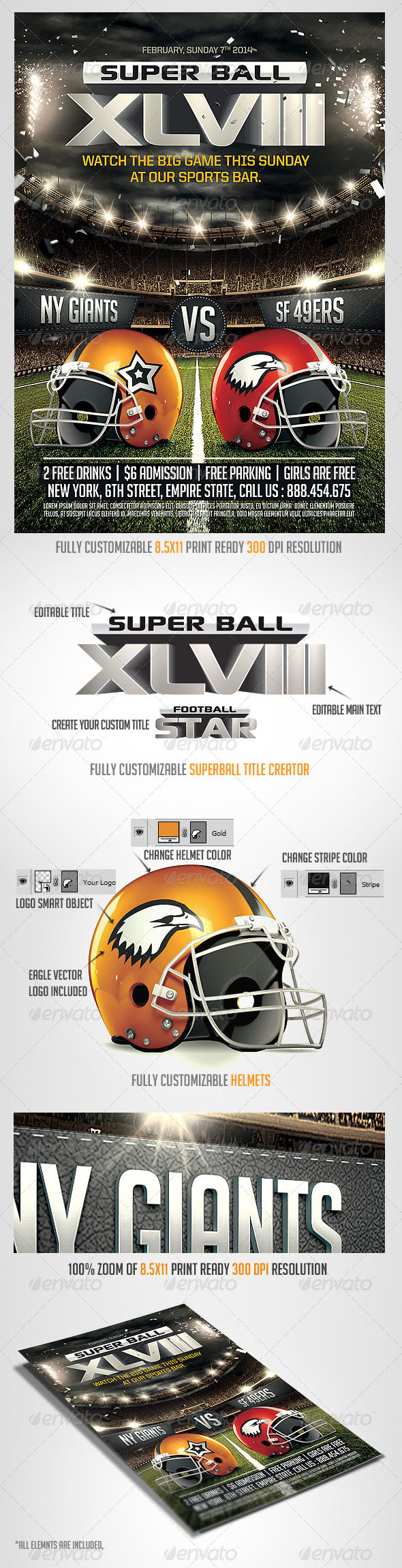 GraphicRiver Super Ball Football Flyer Template 6622814