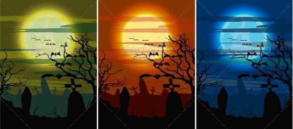 GraphicRiver Set Halloween Dark Cemetery 6622886