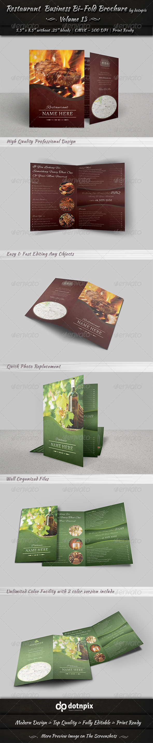 GraphicRiver Restaurant Business Bi-Fold Brochure Volume 13 6623007