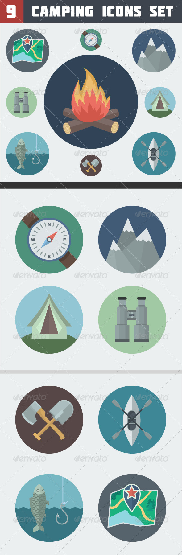 GraphicRiver Camping Icons Set 6623985