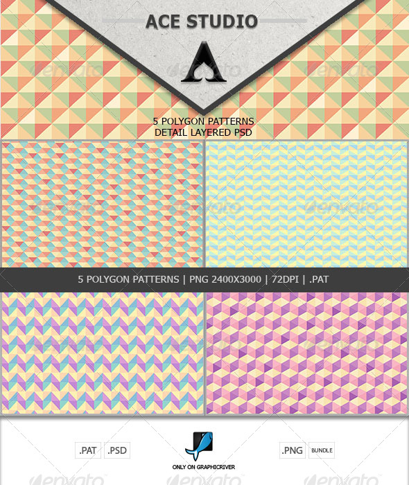 GraphicRiver Polygon Patterns Pack 6624005