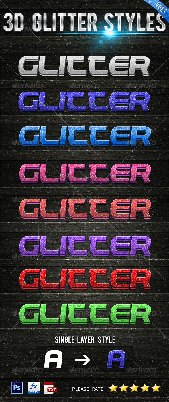 GraphicRiver 3D Glitter Styles Vol 1 6624080