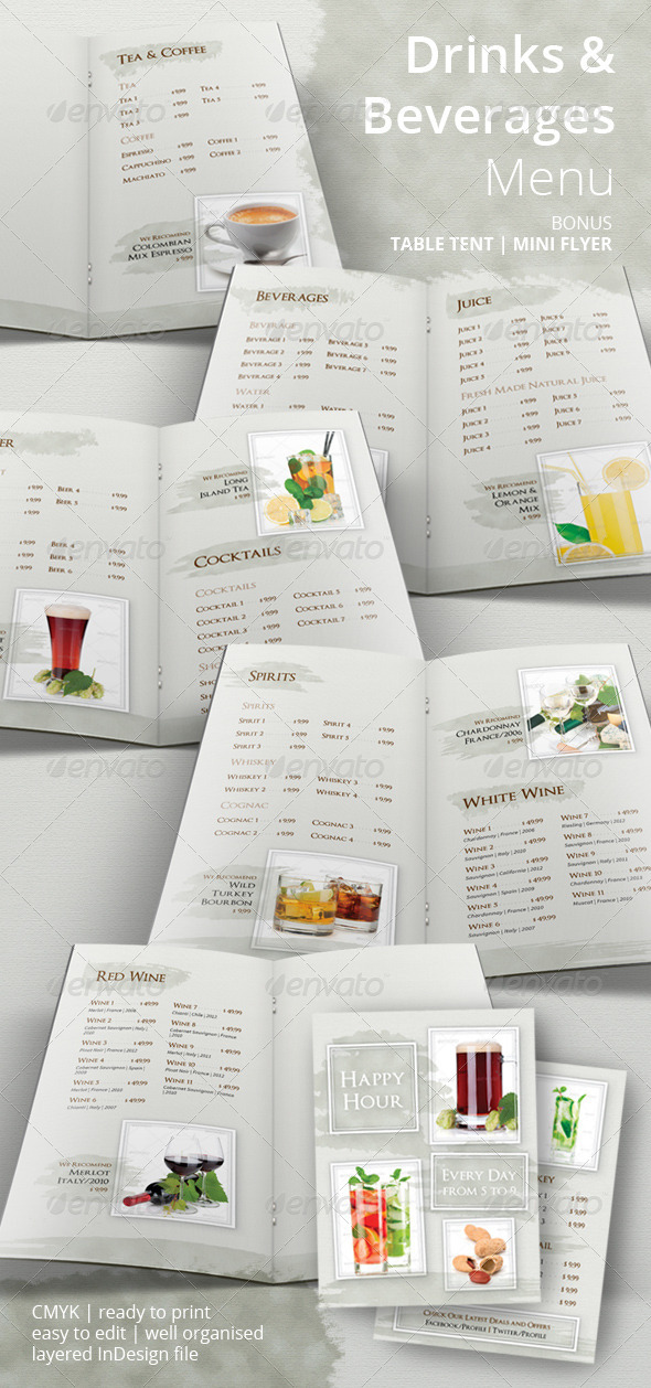GraphicRiver Drinks and Beverages Menu 6624093