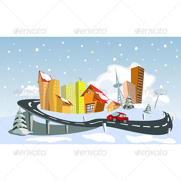 GraphicRiver Colorful Winter Vector City 6624095