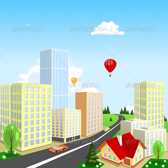 GraphicRiver Vector City with a Balloon in the Background 6624220