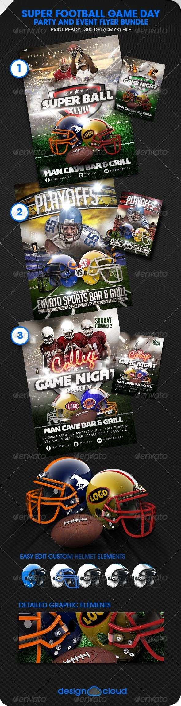 GraphicRiver Football Flyer Template Bundle 6619067