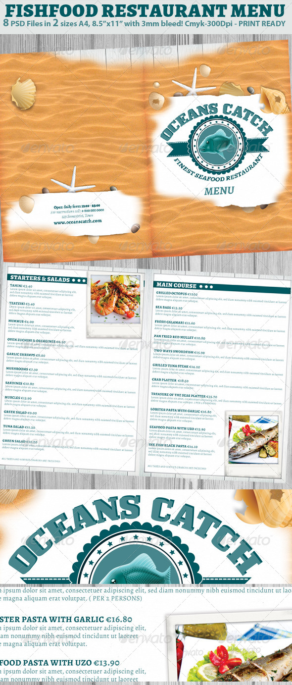 GraphicRiver Seafood Restaurant Menu Template 6624666