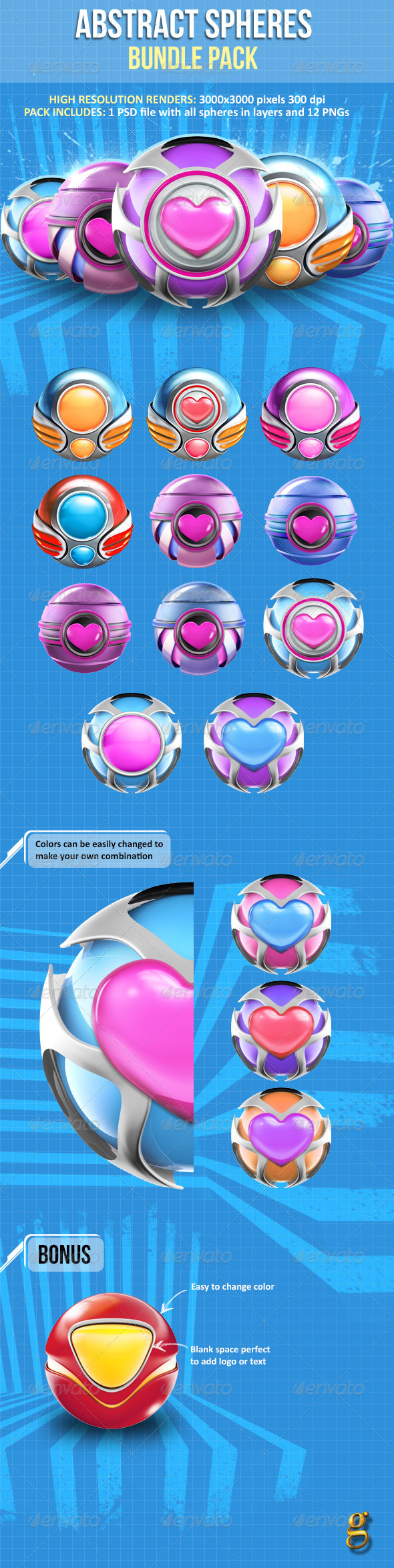 GraphicRiver Abstract 3D Sphere Bundle Pack 6625490