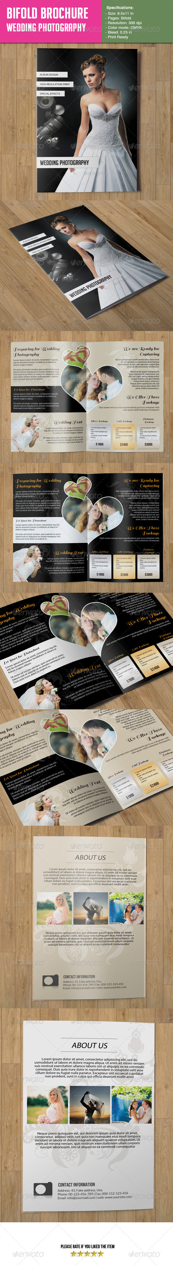 GraphicRiver Bifold Brochure- Wedding Photography 6625634