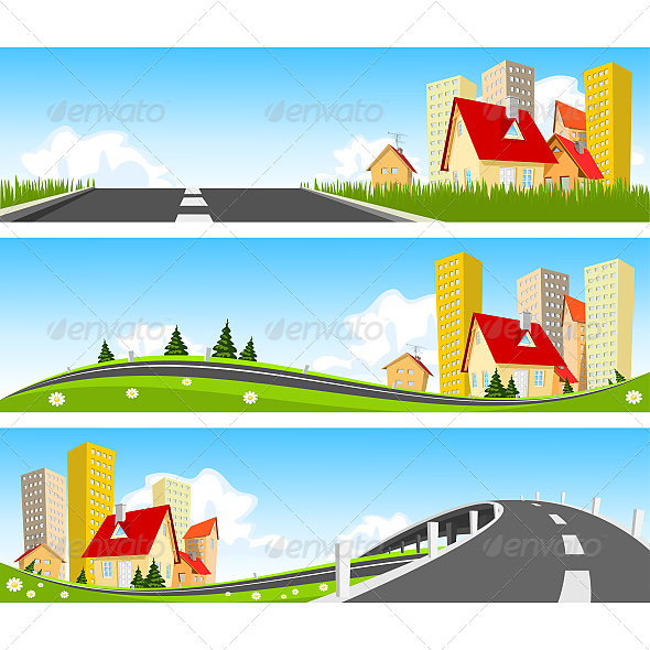 GraphicRiver City and Way Through Nature Banner 6626658