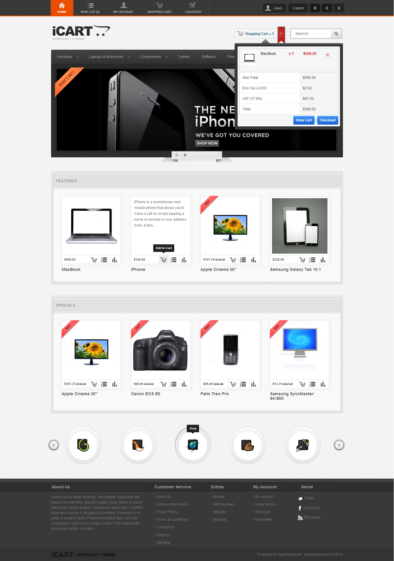 iCart Template for OpenCart 1.5