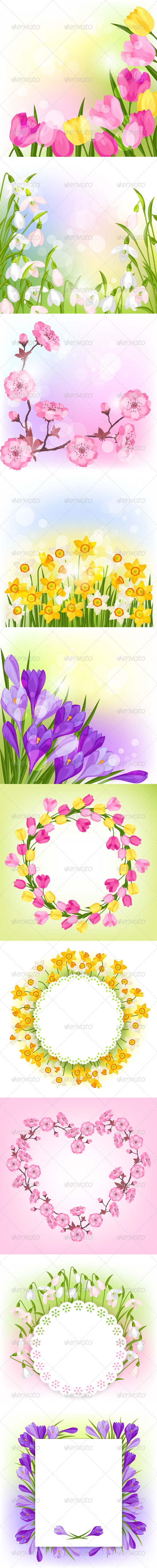 GraphicRiver Spring Flowers Natural Backgrounds 6626774
