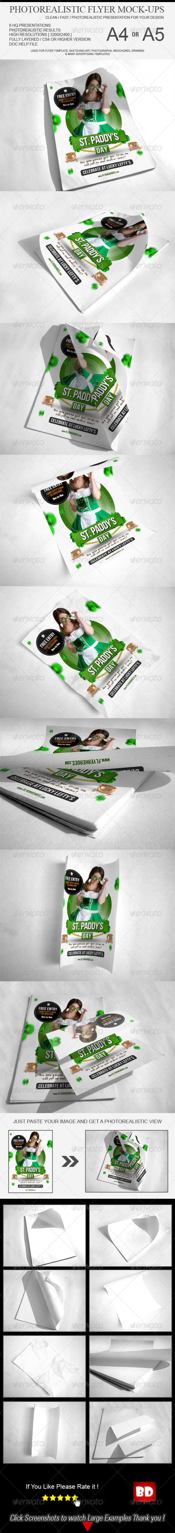 GraphicRiver A4 Flyer Poster Mockups 6601228