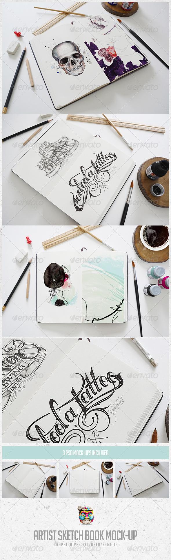 GraphicRiver Artist Sketch Book Mock-Up 6627417