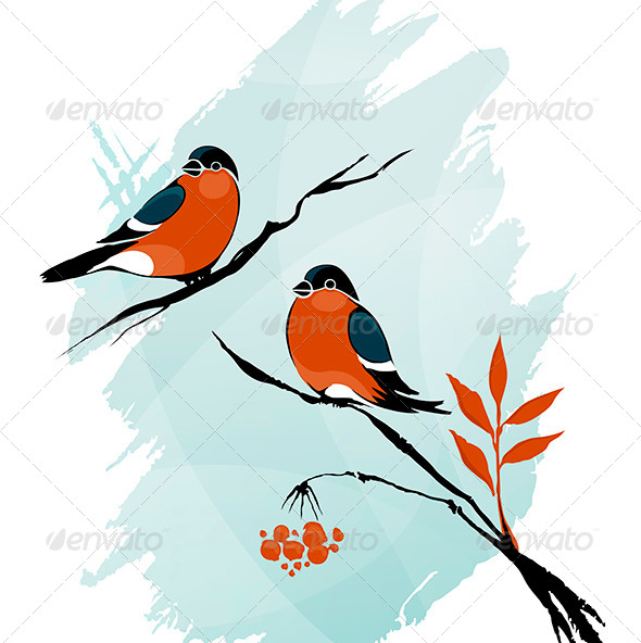 GraphicRiver Winter Birds on a Tree Ink on Watercolor 6627674
