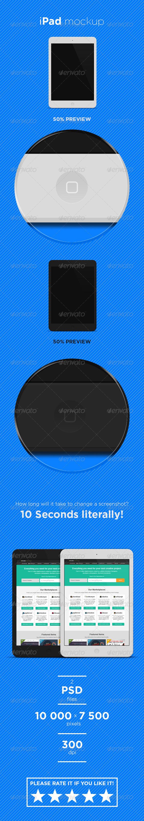 GraphicRiver Flat Black and White iPad Mini Mockup 6629241