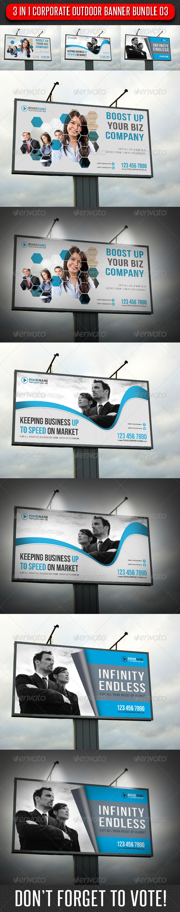 GraphicRiver 3 in 1 Corporate Outdoor Banner Bundle 03 6629384