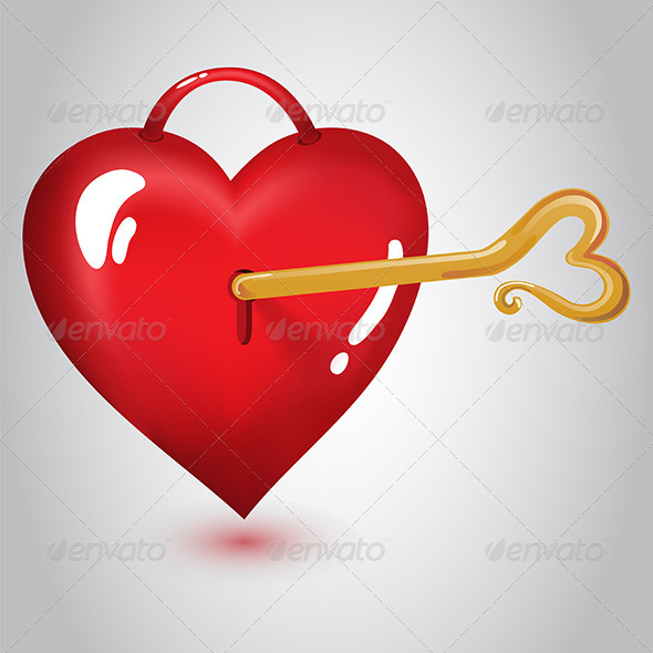 GraphicRiver Red Heart with Key 6629385
